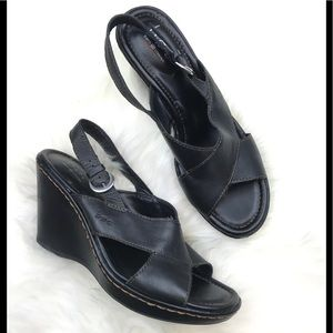 b.o.c by Born Black Wedge Leather Sandals